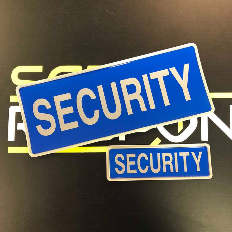 Reflective Badge - SECURITY - Blue - 250mm