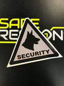 Sticker - Warning Dogs on Board Logo Silver - Triangle Decal 200mm