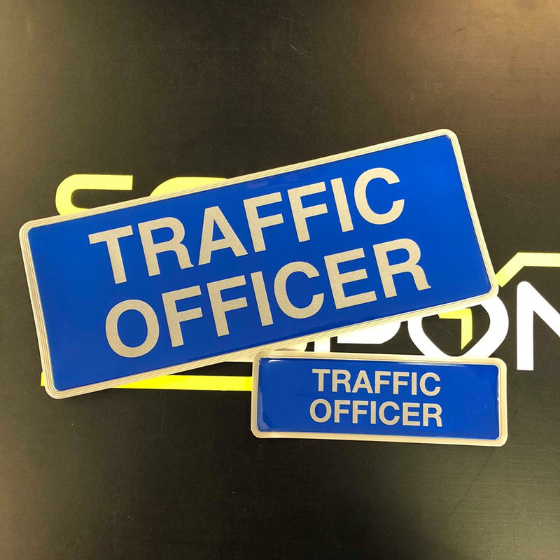 Reflective Badge - TRAFFIC OFFICER - 250mm - Front and Rear SET