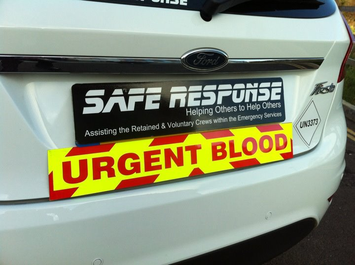 Urgent Blood Magnet with Day Glo Background and Chevron Styling (MG049)