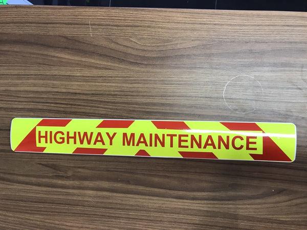 Magnet Highway Maintenance  Chevron Design Red Text (MG027)