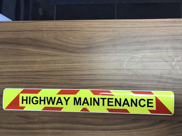 Magnet Highway Maintenance  Chevron Design Black Text (MG028)