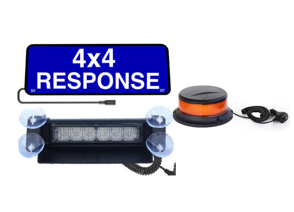 Combo Vehicle Set 4x4 RESPONSE SRX-178 & Amber LED Dash Light & 231 Amber Magnetic Beacon - Safe Responder X