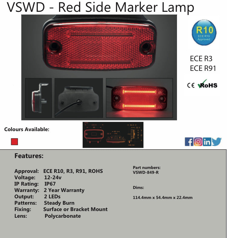 VSWD-849-R - LED Marker Light - Red ECE R10