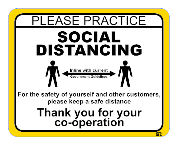 Social Distancing A4 adhesive sticker