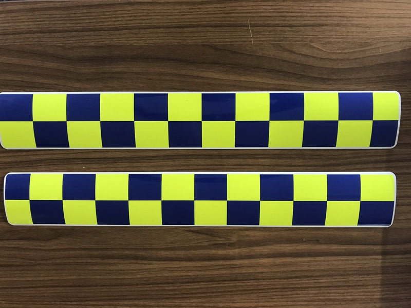 Magnet Police Coastguard Rescue Blue Yellow Chequered Battenburg x4 (MG009)