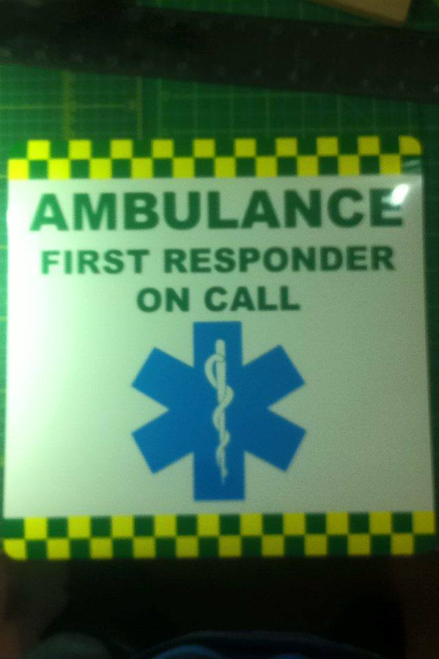 Magnetic Sign AMBULANCE FIRST RESPONDER ON CALL