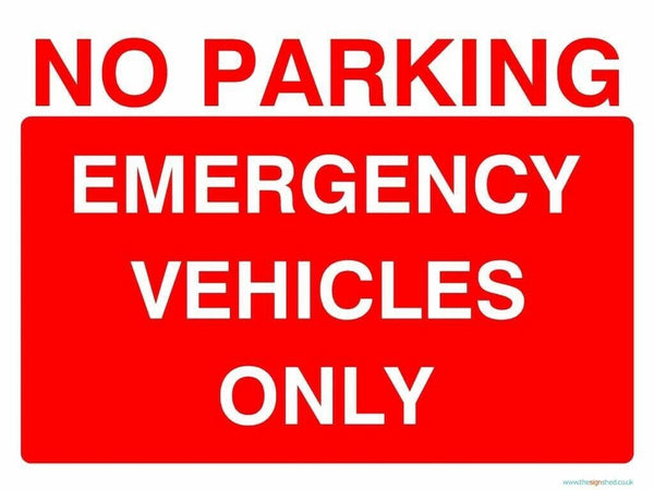 Sticker A5 PARKING EMERGENCY VEHICLES ONLY