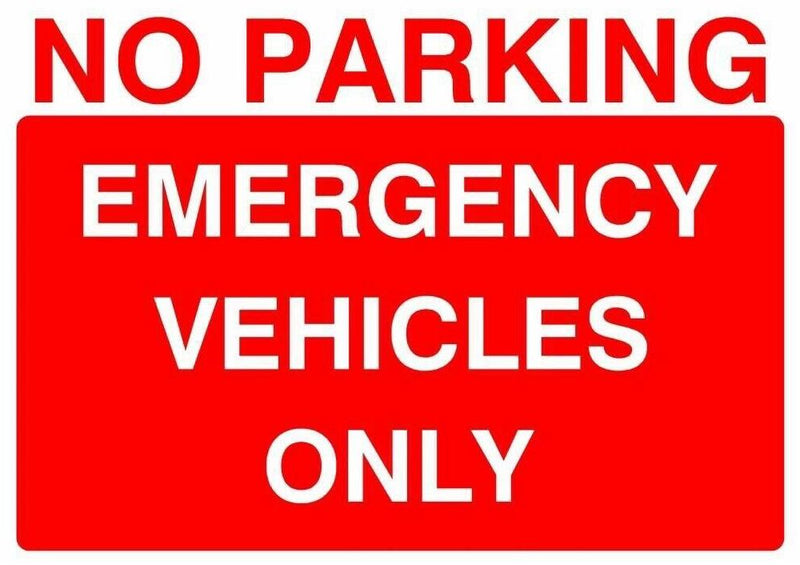 Sticker A4 PARKING EMERGENCY VEHICLES ONLY