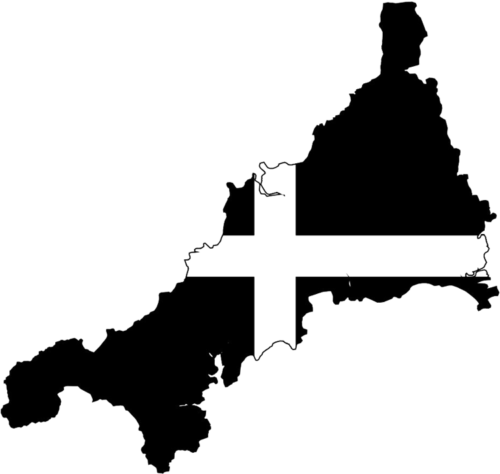 Sticker CORNWALL FLAG Map 80mm
