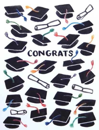Picture of Congrats Grad Caps card by SKETCHY NOTIONS