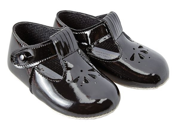 Teardrop Black Patent Soft Soled Pram Shoes