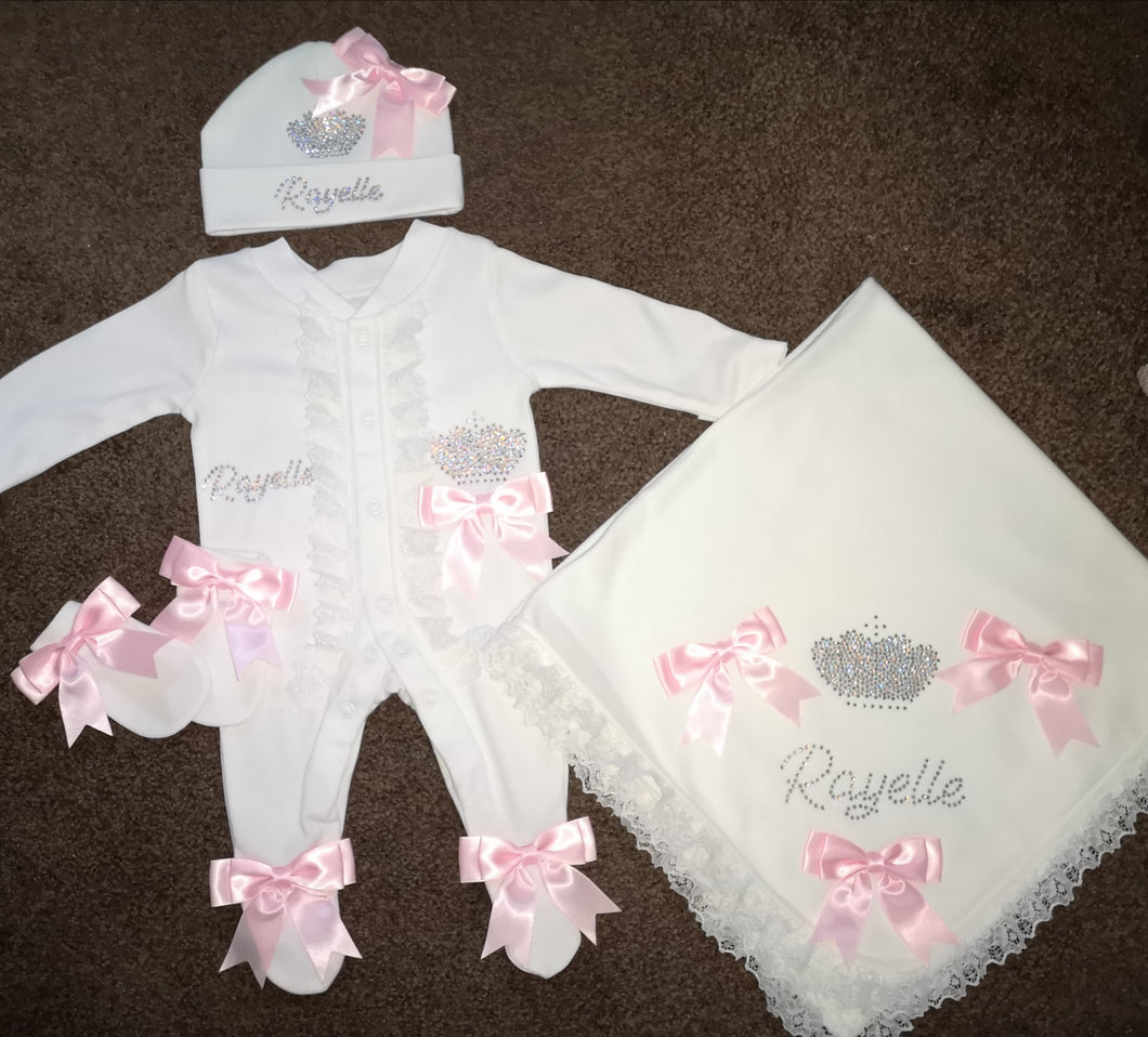 Custom diamante white lace and baby pink bows set with crown design