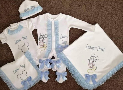 Custom diamante blue lace/bow set with boy mouse design