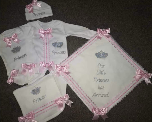 Custom diamante pink slot lace set with 'Princess has arrived' and crown design