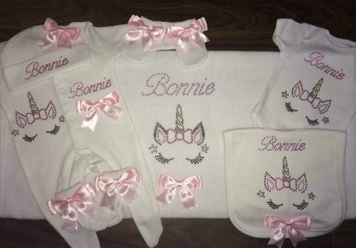 Custom diamante pink bow set with unicorn design