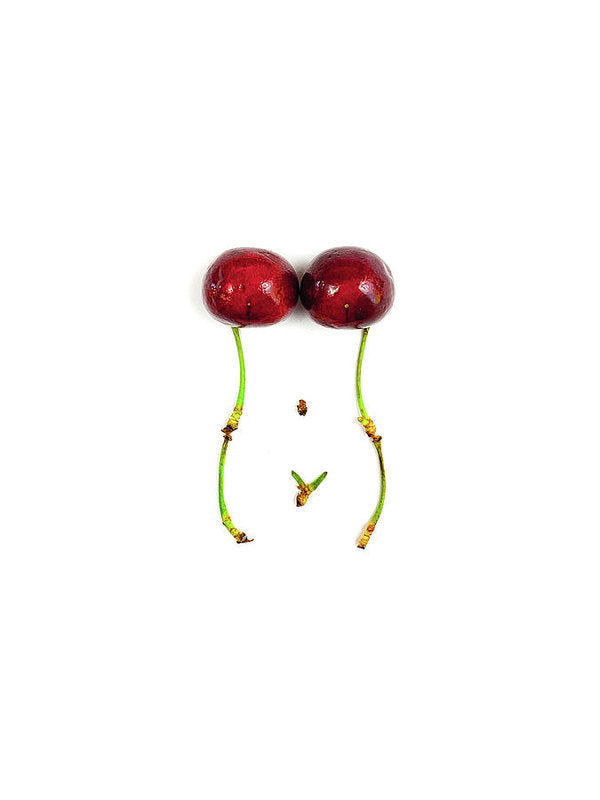 Cherry Curves - White - Art Print