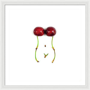 Cherry Curves - Square - White - Framed Print