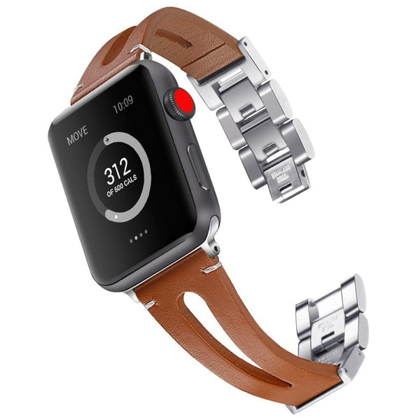 Apple Watch | Genuine Leather & Metal Chain Strap