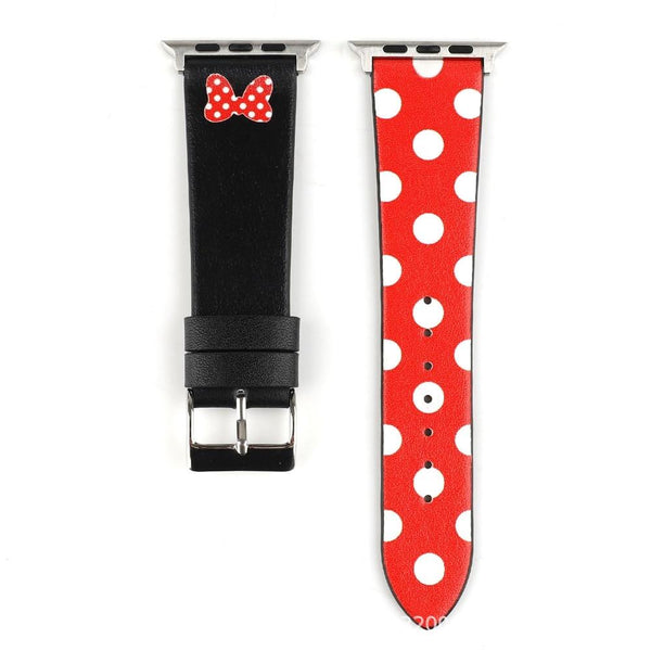 Apple Watch | Genuine Leather Mickey Mouse Themed Strap | Mickey & Minnie Mouse