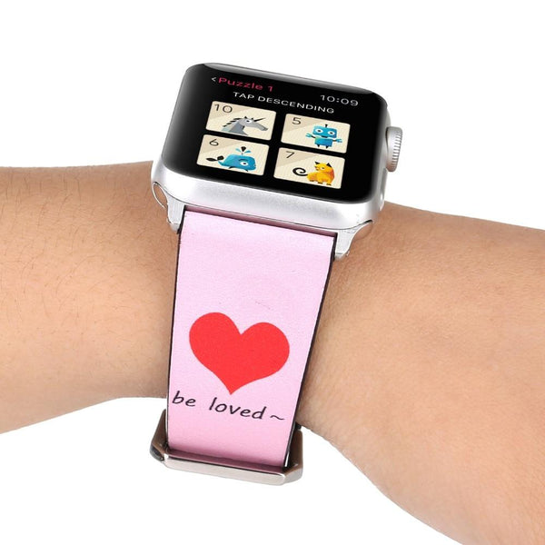 Apple Watch | Genuine Leather Strap | Hearts | Valentine's Band