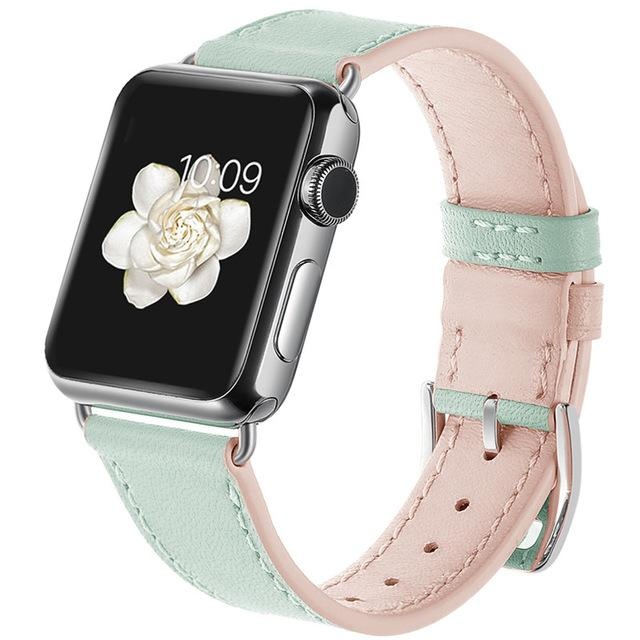 Apple Watch | Genuine Leather Strap | Mint and Pink