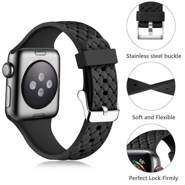 Apple Watch | Silicone Watch Band With Woven Pattern | Multiple Colors