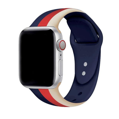 Striped Silicone Strap with Tuck-in Band