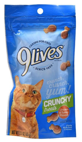 9 Lives Chicken and Turkey Flavored Crunchy Cat Treats, 2.1-oz. Bags