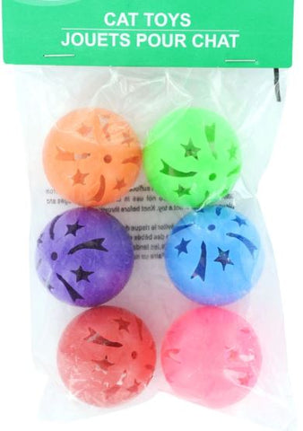 Plastic Ball and Bell Cat Toys, 6-ct. Pack