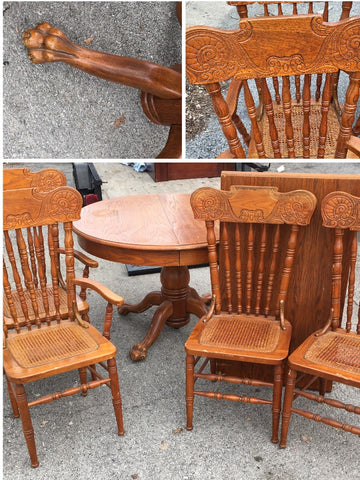1920s Oak Wood Claw Kitchen Table Set