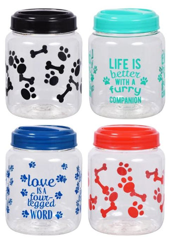 Pet Printed Plastic Treat Jars with Lids, 4x4x5.625 in.
