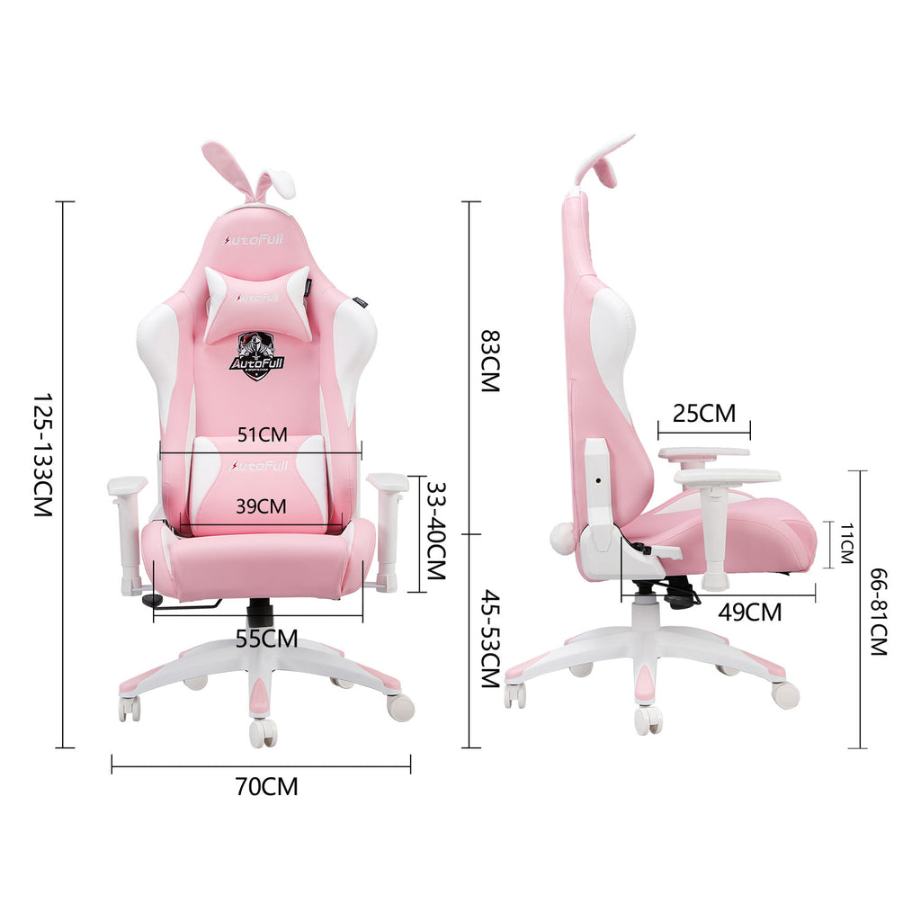 AutoFull Pink Gaming Chair With Bunny