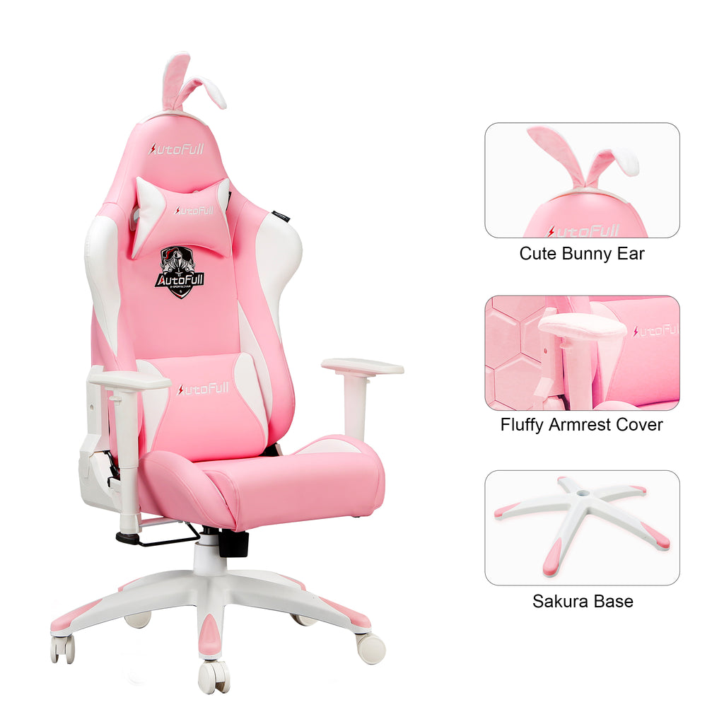 AutoFull Pink Gaming Chair With Bunny - AutoFull Official