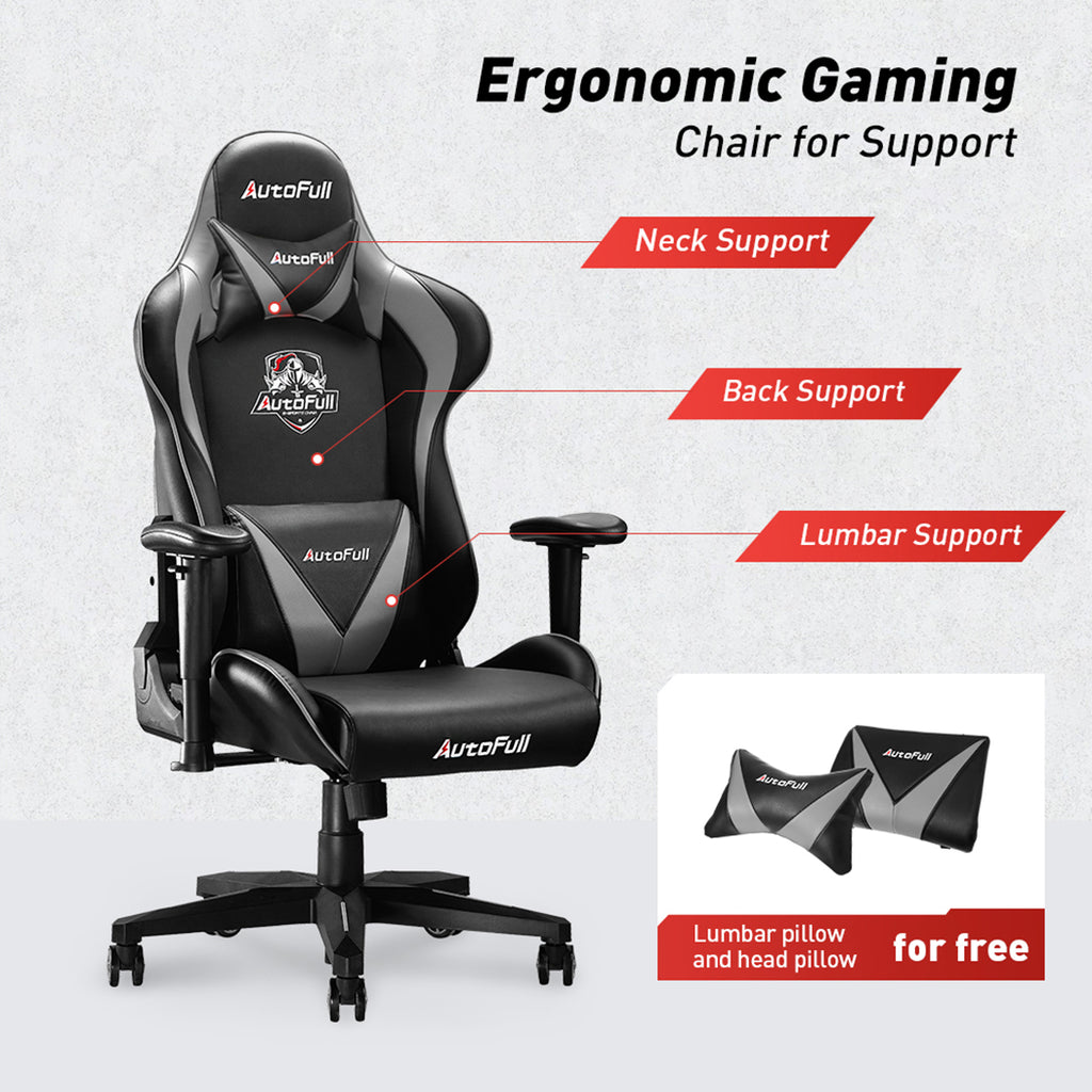 AutoFull Computer Gaming Chair,Gray