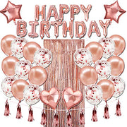 Happy Birthday Rose Gold Foil Birthday Decorations
