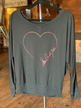 Load image into Gallery viewer, Black Heart Long Sleeve Dolman