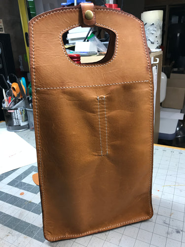 Leather Wine Bottle Double Tote