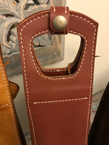 Leather Wine Bottle Tote. Single