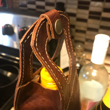 Load image into Gallery viewer, Leather Wine Bottle Tote. Single