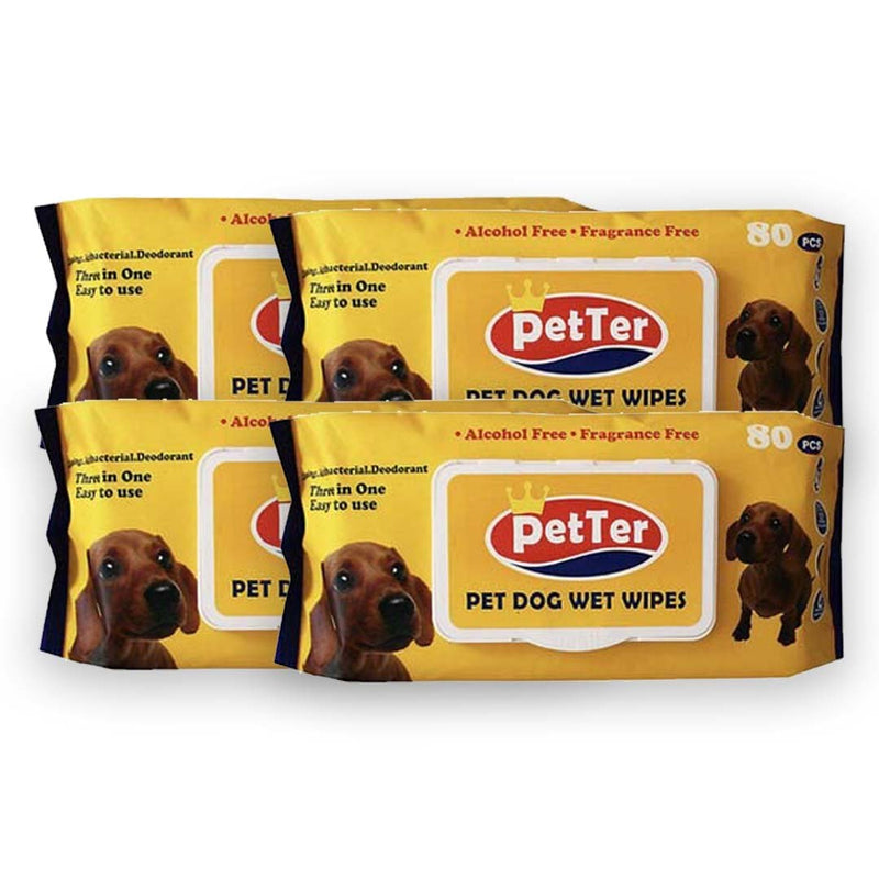 Petter Pet Grooming Wipes 80 Pulls x 4 Packs (Savers Bundle) - Animall Philippines