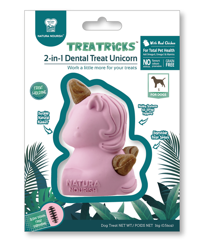 Natura Nourish Treatricks 2-in-1 Unicorn Toy with Dental Treats