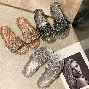 Rompsun™ Ladies' Glitter Slide Rhinestone Flip Flop Jelly Beach Summer Sandal