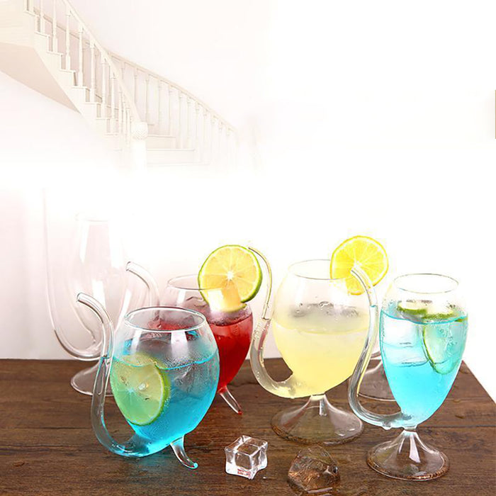 Rompsun™ Creative Glass Cup With Drinking Tube Straw