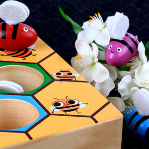 Rompsun™  Toddler Fine Motor Skill Toy Colorful Wooden Clamp Bee to Hive Matching Game