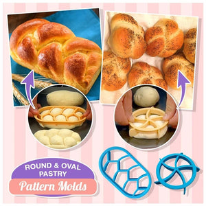 Rompsun™ Round & Oval Pastry Pattern Mold (2pcs set)