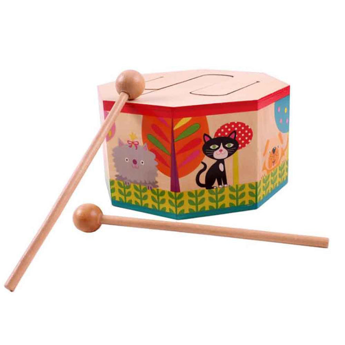 Rompsun™ Kids Early Learning Instrument Wooden Drum Musical Toy Play Fun