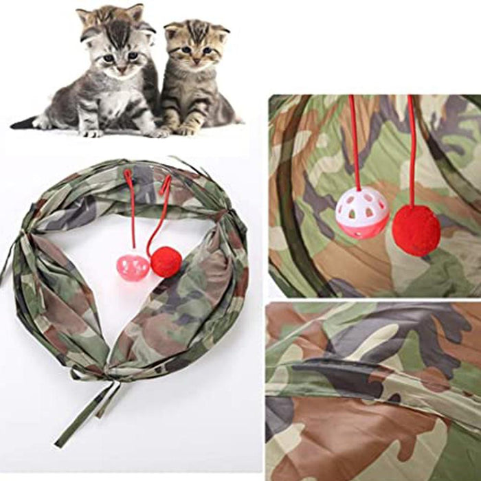 Rompsun™ Cat Tunnels Tubes Collapsible Crinkle Interactive Play Tunnel Toy with Ball