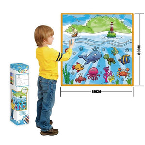 Rompsun™ Kids' Washable Coloring Play Mat with 12 Washable Markers