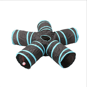 Rompsun™ 5 Holes Pet Cat Tunnel Toys Foldable Pet Training Toy Puppy Play Tunnel Tube